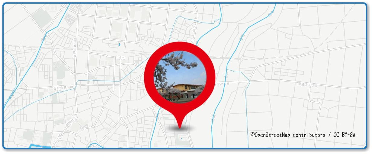 赤川花火大会の穴場スポット 鶴岡市立朝陽第五小学校グラウンド周辺の地図