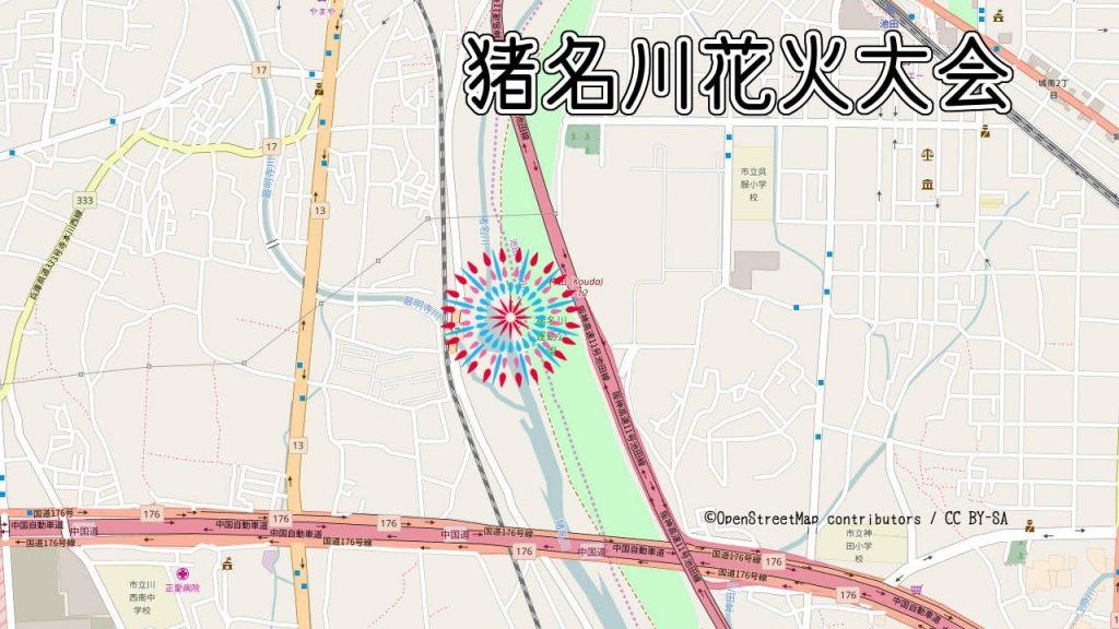 猪名川花火大会の打ち上げ場所の地図