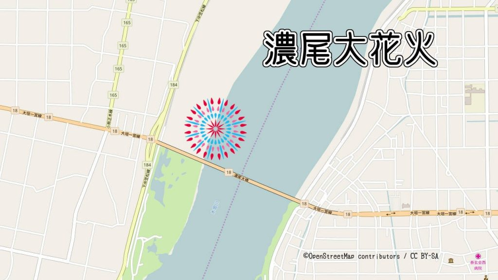 濃尾大花火の打ち上げ場所の地図