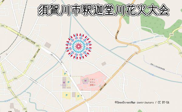 釈迦堂川花火大会の打ち上げ場所の地図